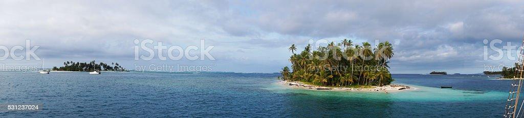 Panoramic photo Island in the archipelago of San Blas, Panama stock photo