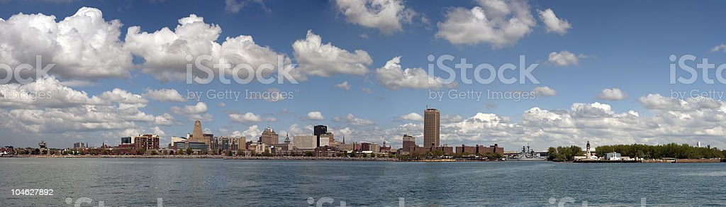 Panoramic Photo of Buffalo, NY and Waterfront stock photo