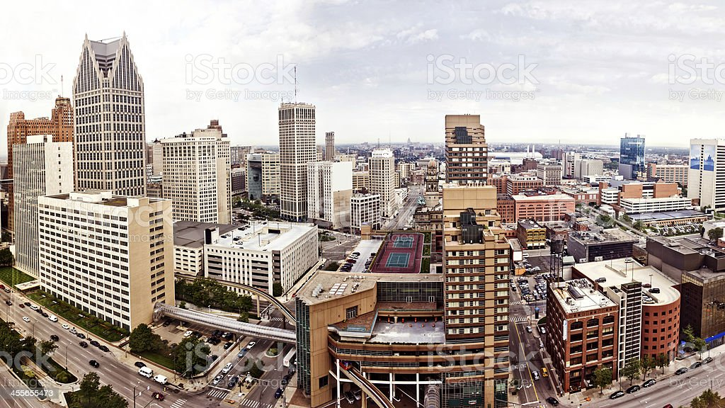 Panoramic photo of downtown Detroit stock photo