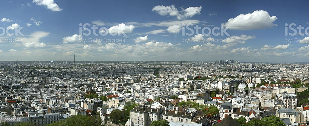 Panoramic photo of Paris, France stock photo