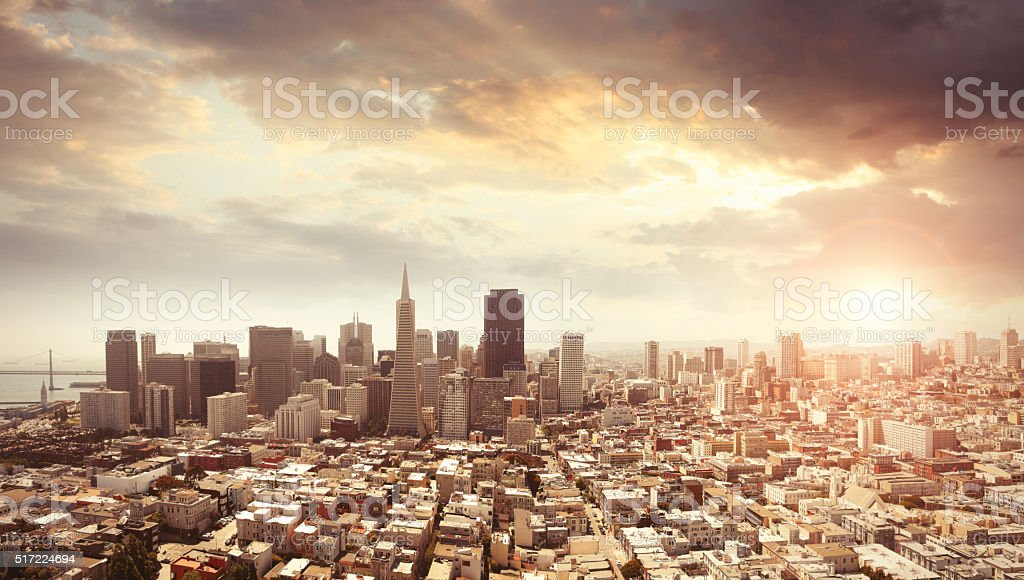 Panoramic photo of San Francisco in sunset light stock photo