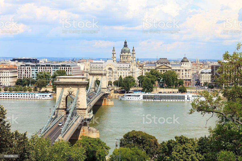 Panoramic photo of the Chain Bridge stock photo