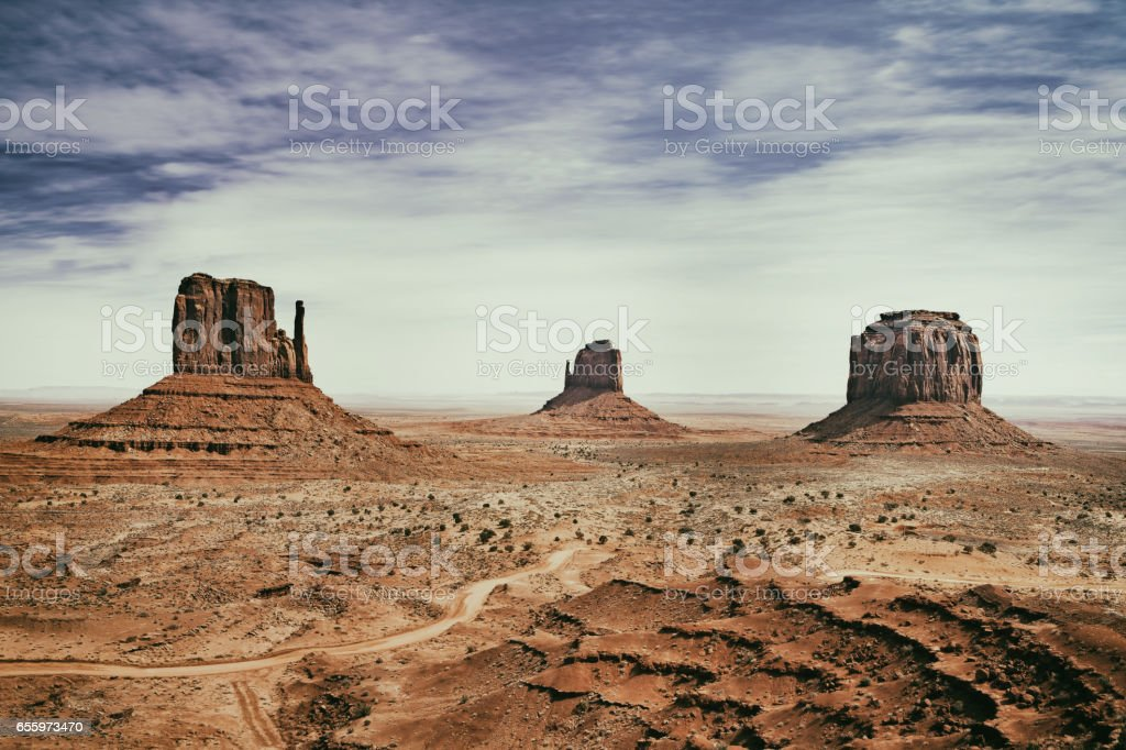 panoramic photo of the Monument Valley Park in Arizona in USA stock photo