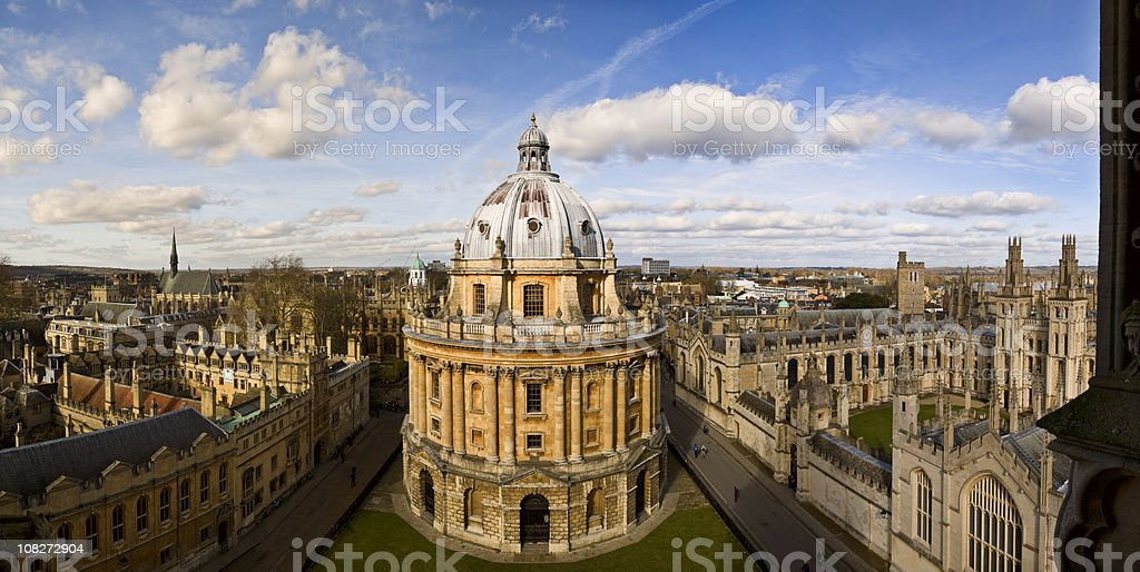 Panoramic photo of the Oxford skyline and Radcliffe Camera royalty-free stock photo