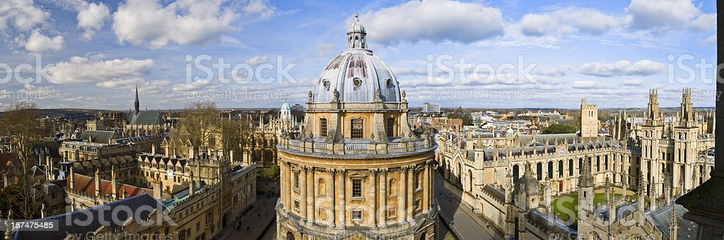 Panoramic photo of the Oxford skyline and Radcliffe Camera stock photo
