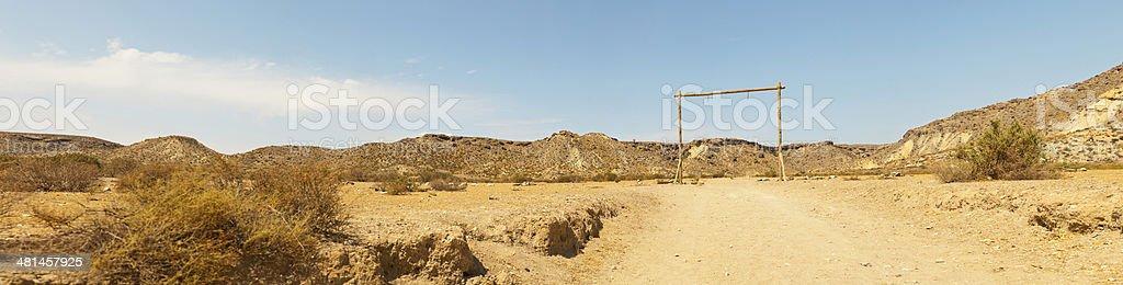 Panoramic photo of the western movie town Fort Bravo. stock photo