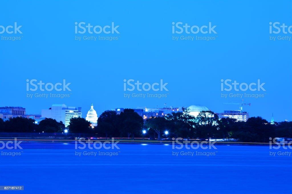 Panoramic Photo of Washington, D.C. at Dusk stock photo