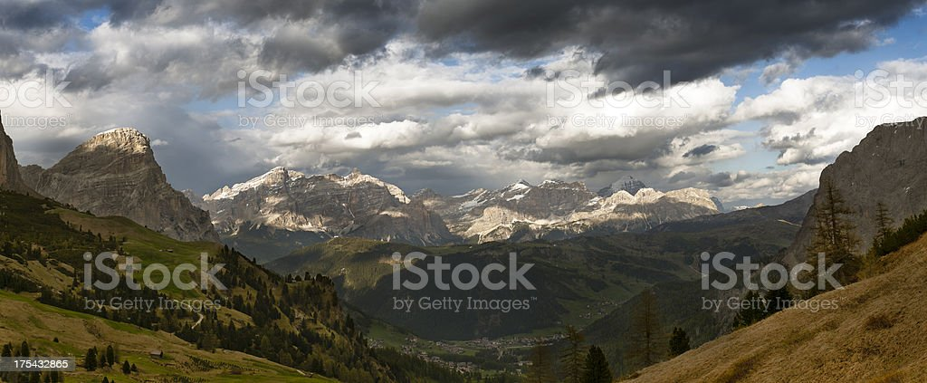 Panoramic photo XXXL, Alta Badia, Dolomites stock photo