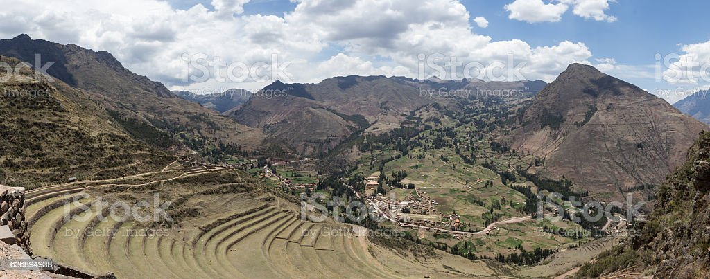 Panoramic photograph of pisaq ruins during sunny day stock photo