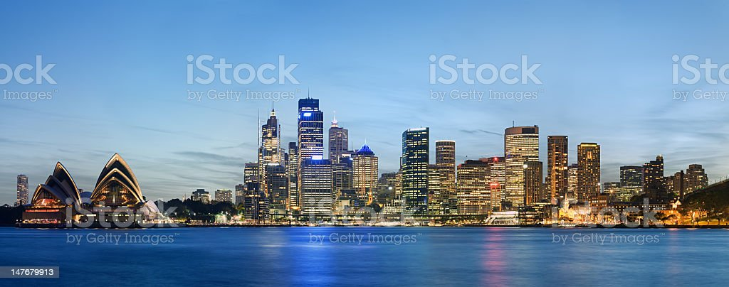 A panoramic photographic of the Sydney skyline at dusk  royalty-free stock photo