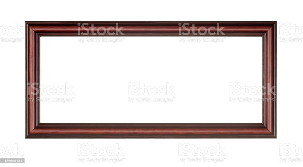 Panoramic Picture Frame in Red Brown Wood, White Isolated royalty-free stock photo