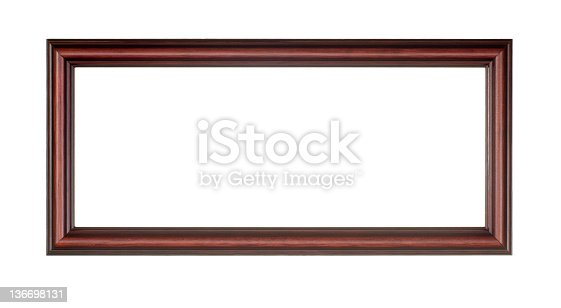 panoramic picture frame in red brown wood white isolated stock photo 136698131 istock