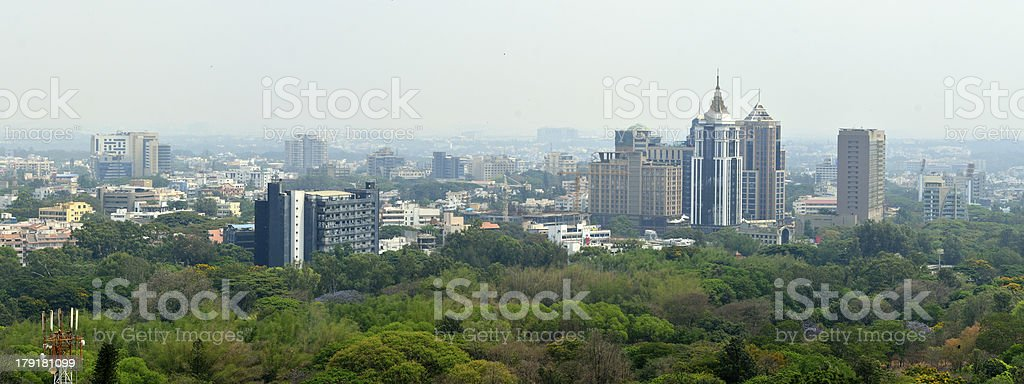 Panoramic picture of Bangalore skyline stock photo