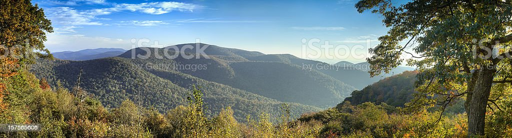Panoramic picture of Blue Ridge Mountains royalty-free stock photo