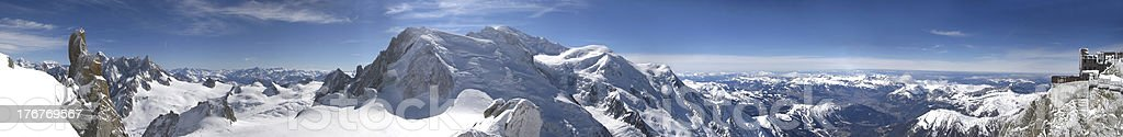 Panoramic picture of Mont Blanc, french Alps stock photo