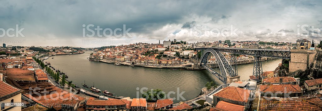 Panoramic picture of Porto in the morning, Portugal stock photo