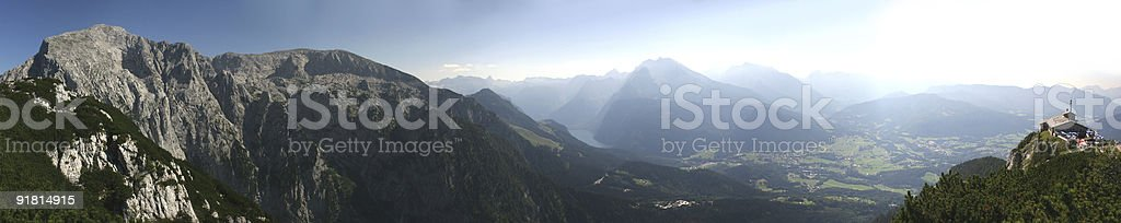 Panoramic picture of the Berchtesgaden Alps royalty-free stock photo