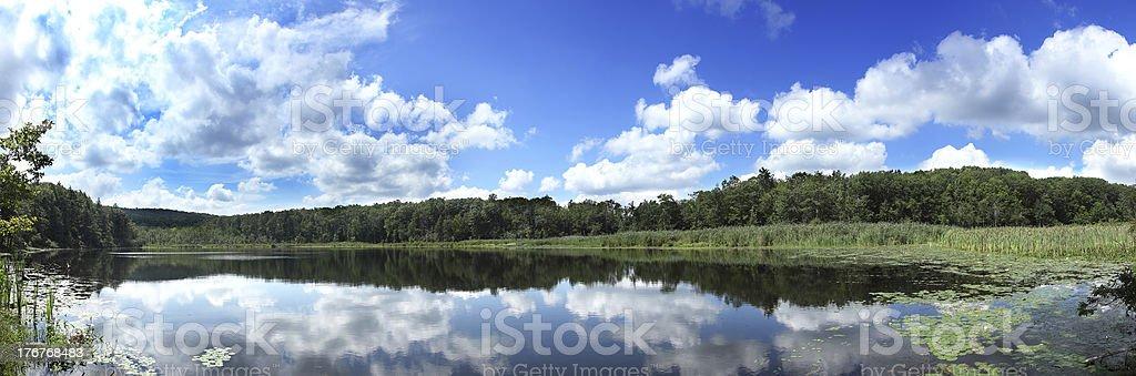 Panoramic pond royalty-free stock photo
