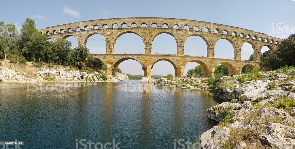 panoramic Pont du Gard view, XXL royalty-free stock photo