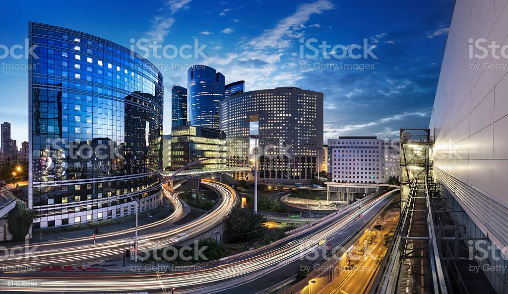 Panoramique Quartier de la Défense Paris stock photo
