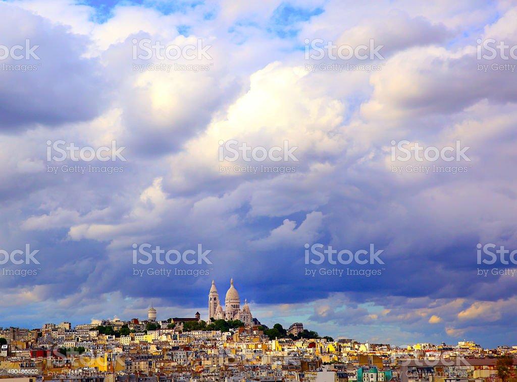 Panoramic rainy sky over Montmartre, in Paris stock photo