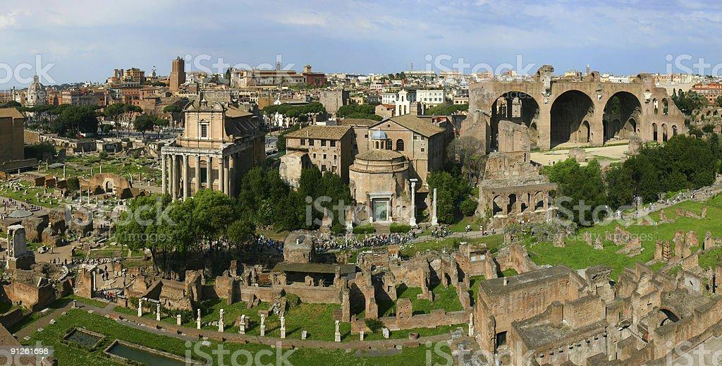 Panoramic roman ruins stock photo