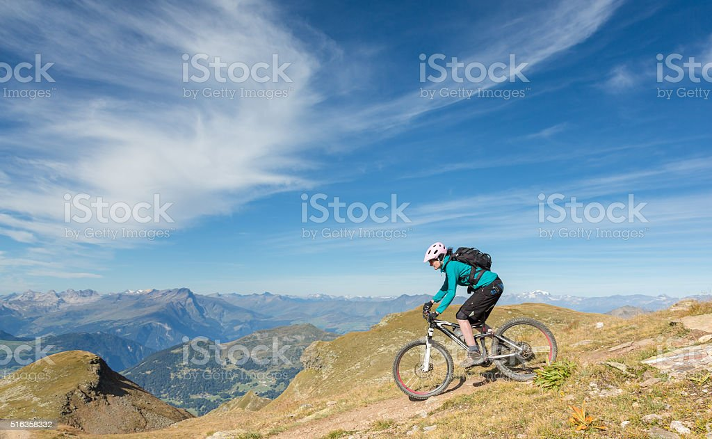Panoramic Rothorn Downhill, Switzerland stock photo
