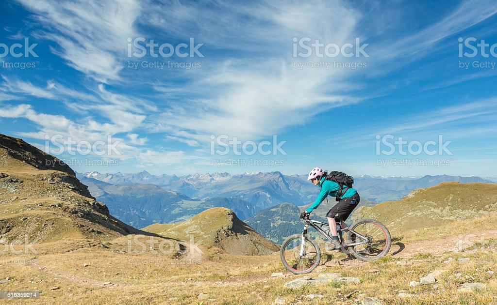 Panoramic Rothorn Mountainbike Downhill, Switzerland stock photo