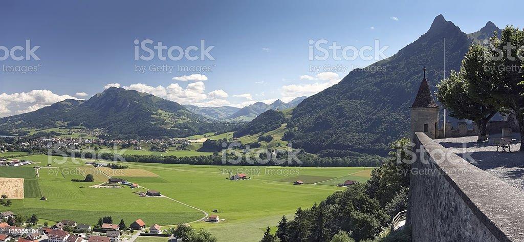 Panoramic rural landscape, Gruyere - Switzerland royalty-free stock photo