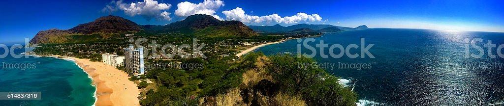 Panoramic Scene of the West Coast of O'ahu, Hawai'i. stock photo