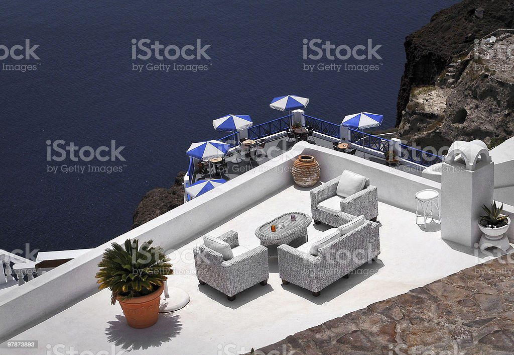 Panoramic scenery from Santorini, Greece royalty-free stock photo