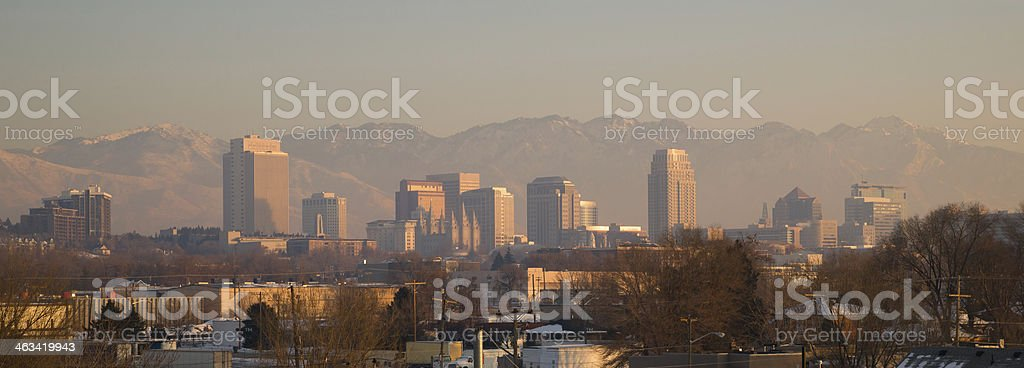 Panoramic Scenic Landscape Salt Lake City Utah Downtown Wasatch Mountains stock photo