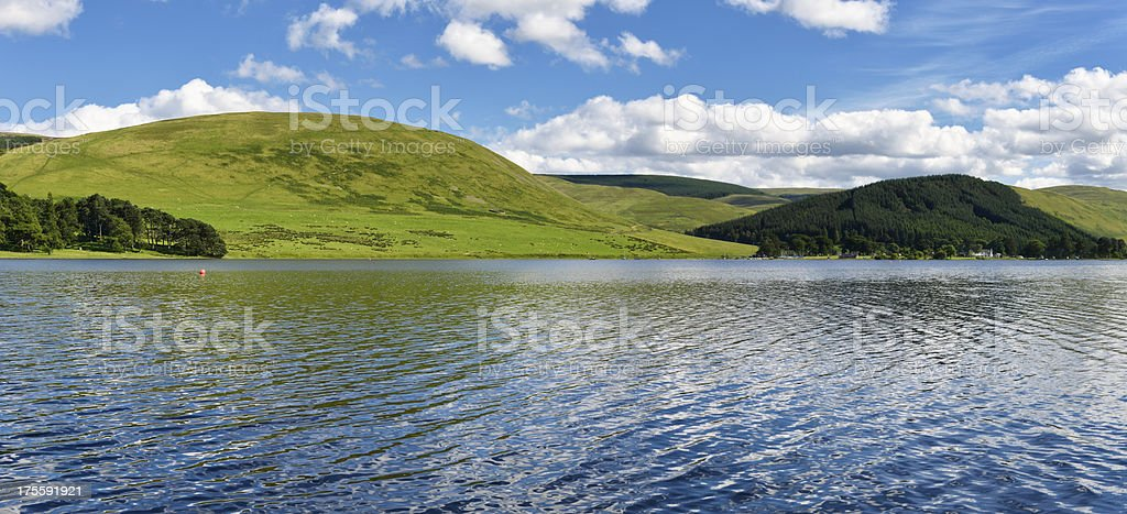 Panoramic Scottish rural scene of a loch and hills stock photo