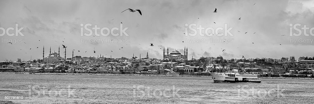 Panoramic sea view of the historical peninsula in Istanbul stock photo