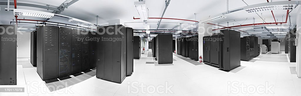 Panoramic Server room in datacenter stock photo