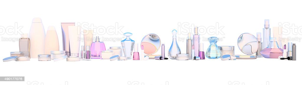 Panoramic set of make-up products and beauty care cosmetic. stock photo