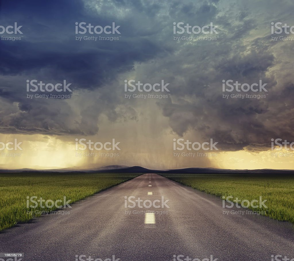 Panoramic shoot of highway road on a cloudy day stock photo