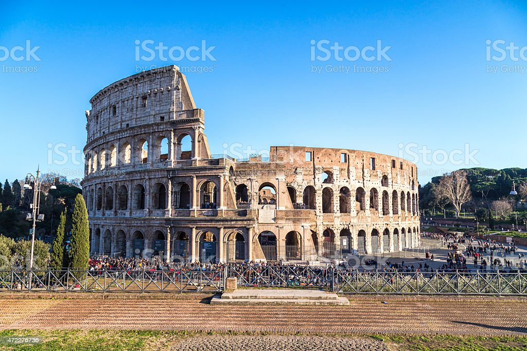 Panoramic shoot of the Collosseum in Rome, Italy stock photo