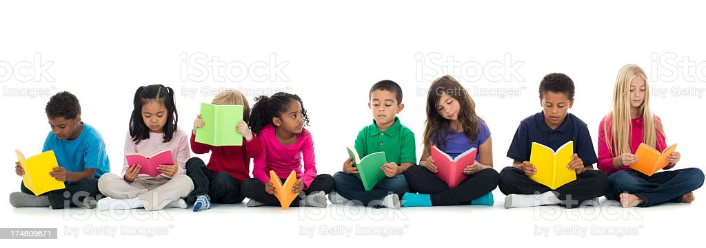 Panoramic Shot - Diverse group of children royalty-free stock photo