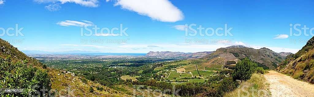 Panoramic shot from behind Table Mountain over Constantia winelands stock photo