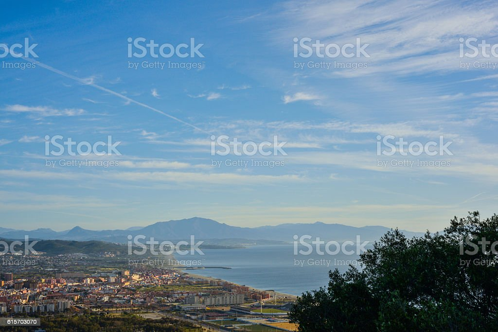 Panoramic shot from the top of the Rock of Gibraltar stock photo