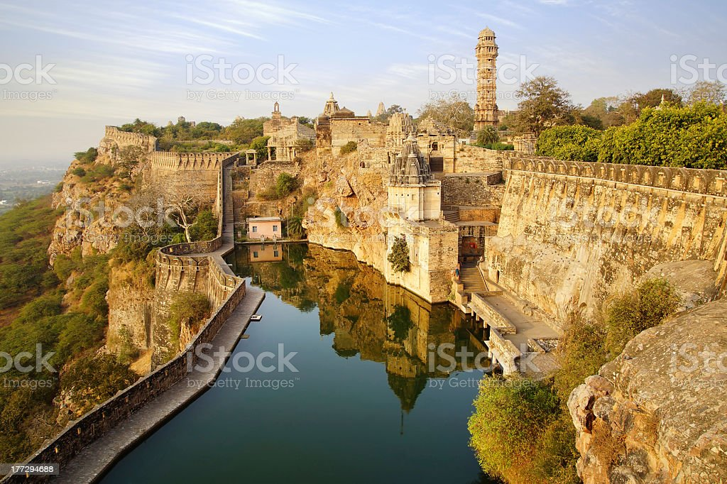 Panoramic shot of Cittorgarh Fort, India stock photo
