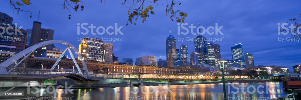 Panoramic shot of Melbourne at night royalty-free stock photo