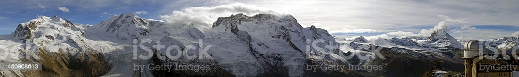 Panoramic shot of Monte Rosa and Matterhorn stock photo