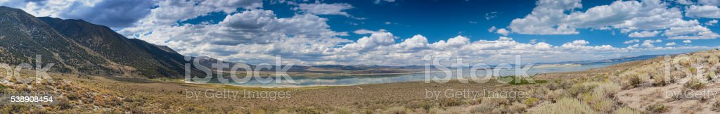 Panoramic Shot of Unique Mono Lake in Yosemite National Park stock photo