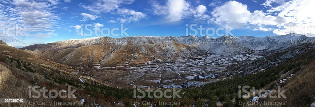Panoramic shot of winter time landscape stock photo