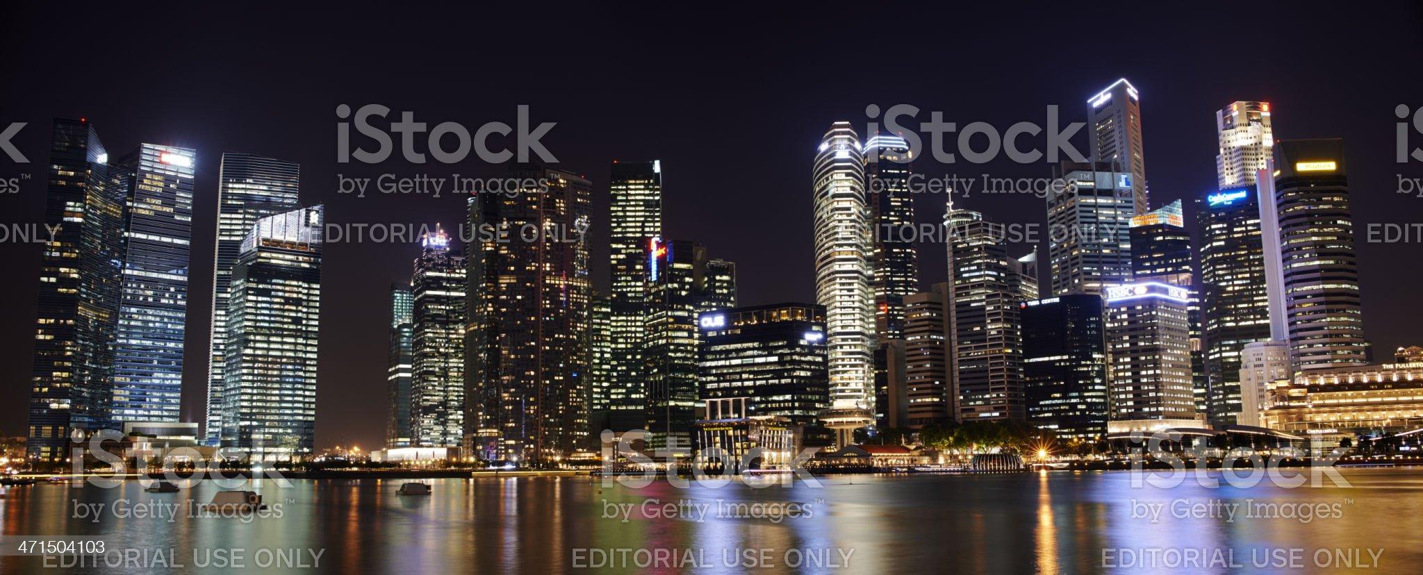 Panoramic Singapore CBD By Night royalty-free stock photo