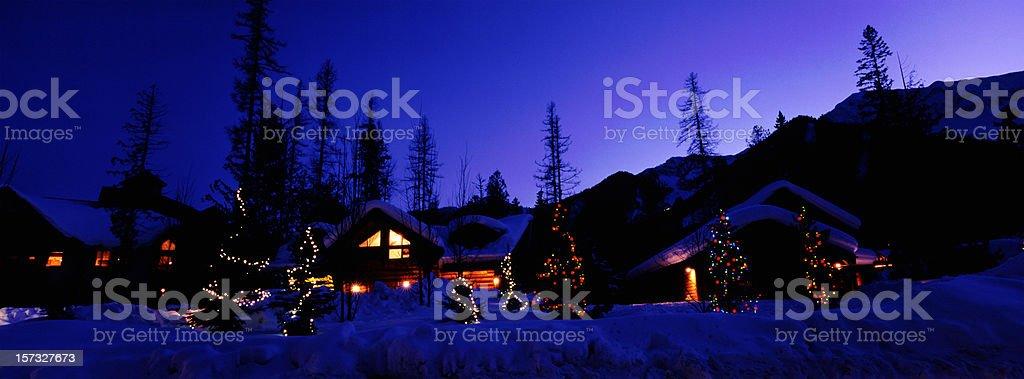 Panoramic Ski Village at Night royalty-free stock photo