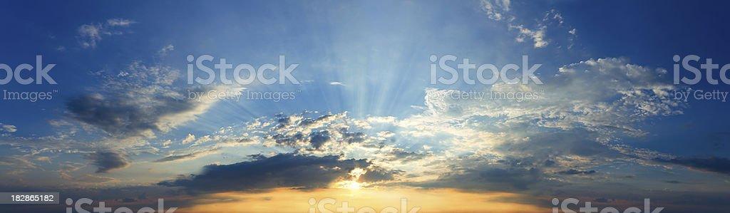 Panoramic sky. Beautiful sunset. royalty-free stock photo