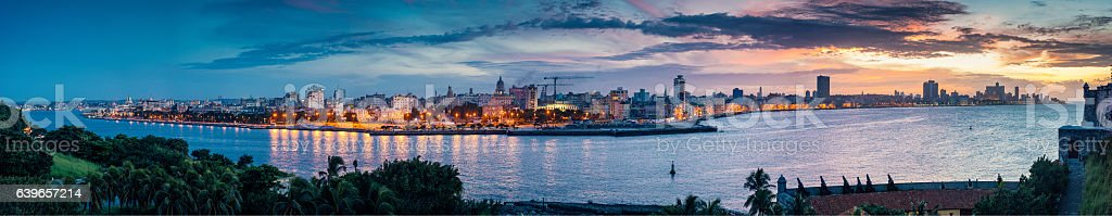 Panoramic Skyline of Havana Cuba stock photo
